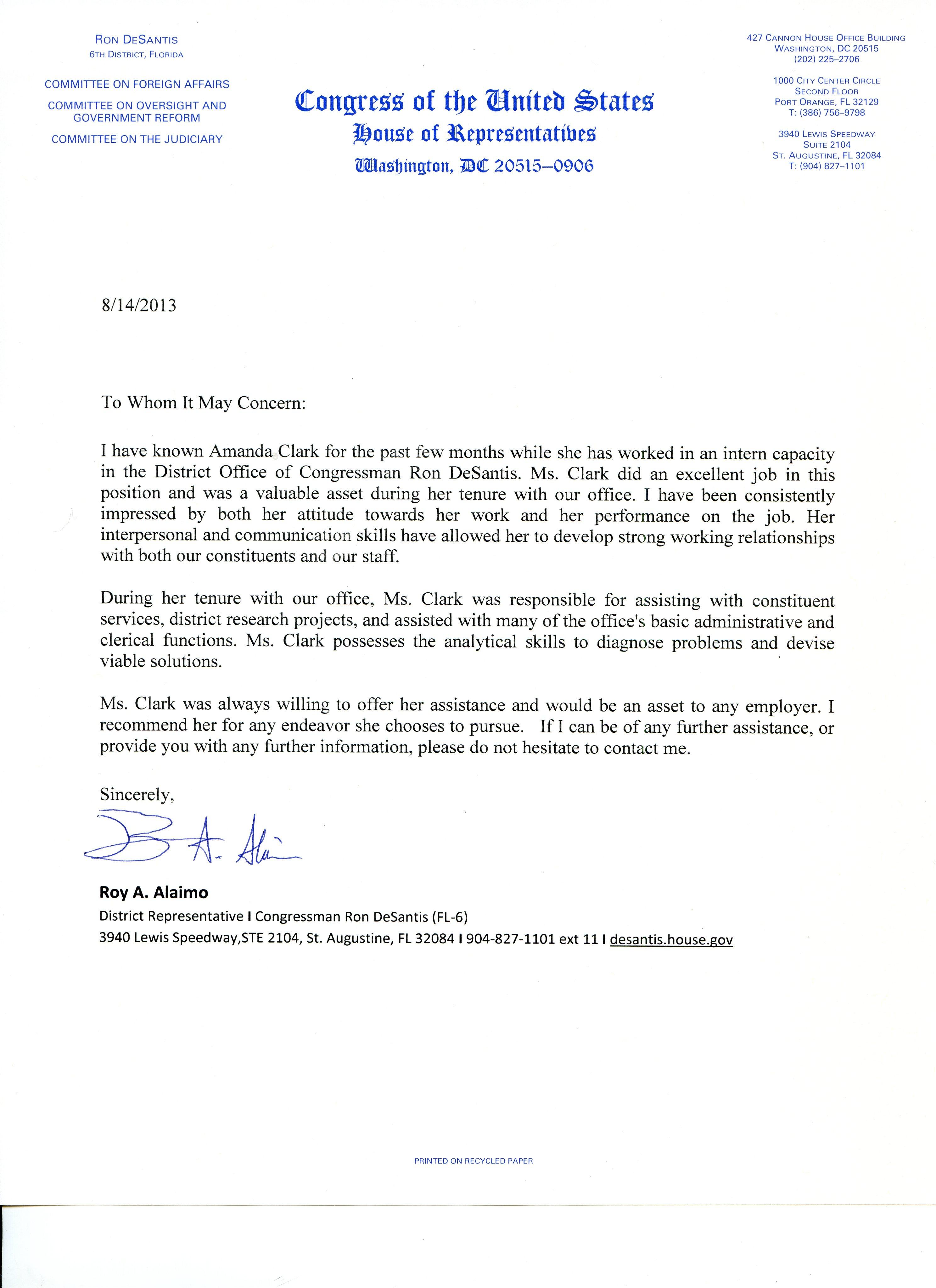 Congressman Ron DeSantis District Office Internship – Letter of Recommendation for Internship